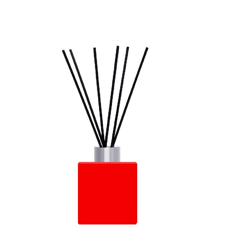 Флакон квадратний для аромадиффузора 50 мл ЧЕРВОНИЙ в комплекті чорні палички 6 шт