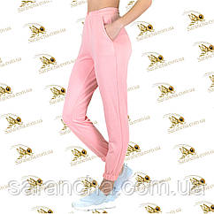 Стильные брючки на манжете розовая двунитка