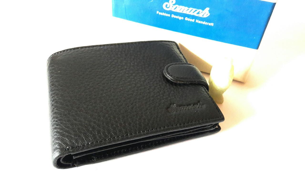 Портмоне для мужчин из натуральной кожи чёрного цвета, бренд Somuch