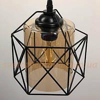 Люстра-светильник 11770 подвесной светло-коричневый плафон-цилиндр в черной решетке
