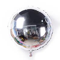"""Фольгированный шар круг серебро 18"""" (Китай)"""