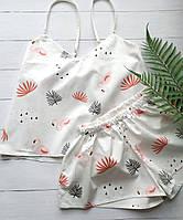 Женская хлопковая пижама в фламинго