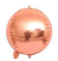 """Шар фольгированный сфера 3D розовое золото 10"""" (Китай)"""