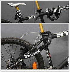 Цепь противоугонная (велозамок) TONYON TY732 кодовая 0,9м ∅5мм ЧЁРНЫЙ