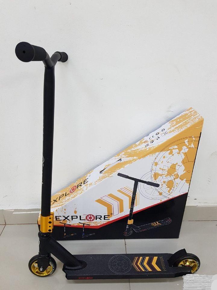 Трюкової Самокат Explore MYSTIQUE SUPER + пеги ( колеса 110 мм алюміній ) Чорно-золотий
