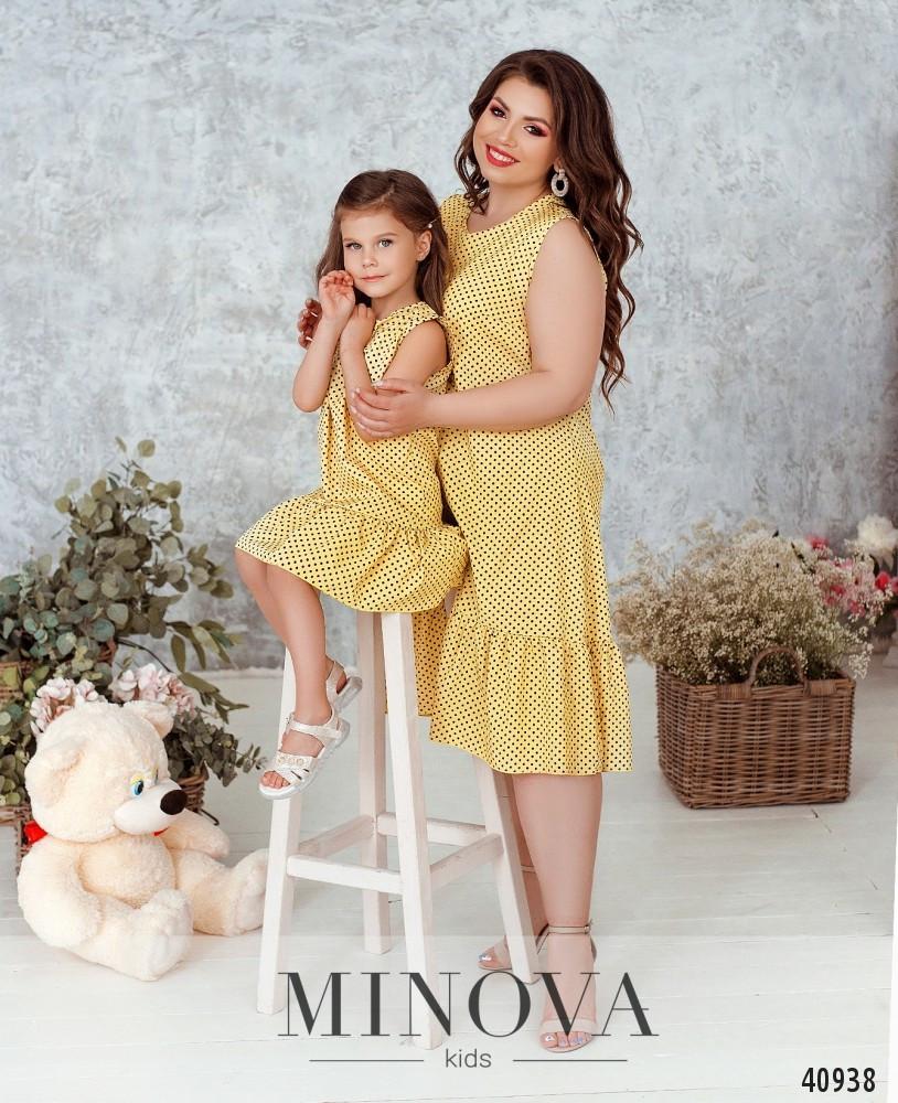 Красивое платье на девочку в горошек, фемели лук, размер от 122 до 164