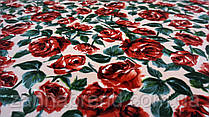 """Ткань велюр цвет персиковый принт """"Розы"""""""