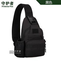 """Универсальная нагрудная тактическая сумка-слинг с USB выходом для зарядки Protector Plus X223, диагональ ≤ 10"""" ЧЁРНЫЙ"""