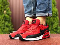 Кроссовки мужские Nike Air Max 90 в стиле Найк Аер Макс, натуральная кожа, код SD-9481.Красные
