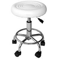 Стул мастера белый, высота: 44-57 см. Мягкое сиденье диаметром 33 см. Стул для маникюра, ресниц, педикюра.
