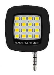 Селфи LED светодиодная подсветка / вспышка USB зарядка для смартфона с 3.5 мм jack ЧЁРНЫЙ
