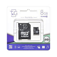 Карта памяти MicroSDHC 8GB UHS-I Class 10 T&G + SD-adapter (TG-8GBSD10U1-01)