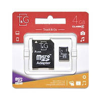 Карта памяти MicroSDHC 4GB Class 4 T&G + SD-adapter (TG-4GBSDCL4-01)