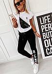 Спортивний костюм жіночий з двухнитки з білою футболкою і чорними штанами 4005939, фото 3