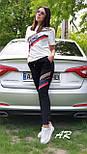 Женский спортивный костюм на лето с белой футболкой и черными штанами 7905940, фото 2