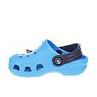 Дитячі українські легкі крокси з піни, блакитні з темно-синім сабо, фото 4