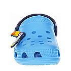 Дитячі українські легкі крокси з піни, блакитні з темно-синім сабо, фото 7