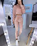 Женский спортивный бархатный костюм с укороченным худи и штанами на манжетах 2005944, фото 3