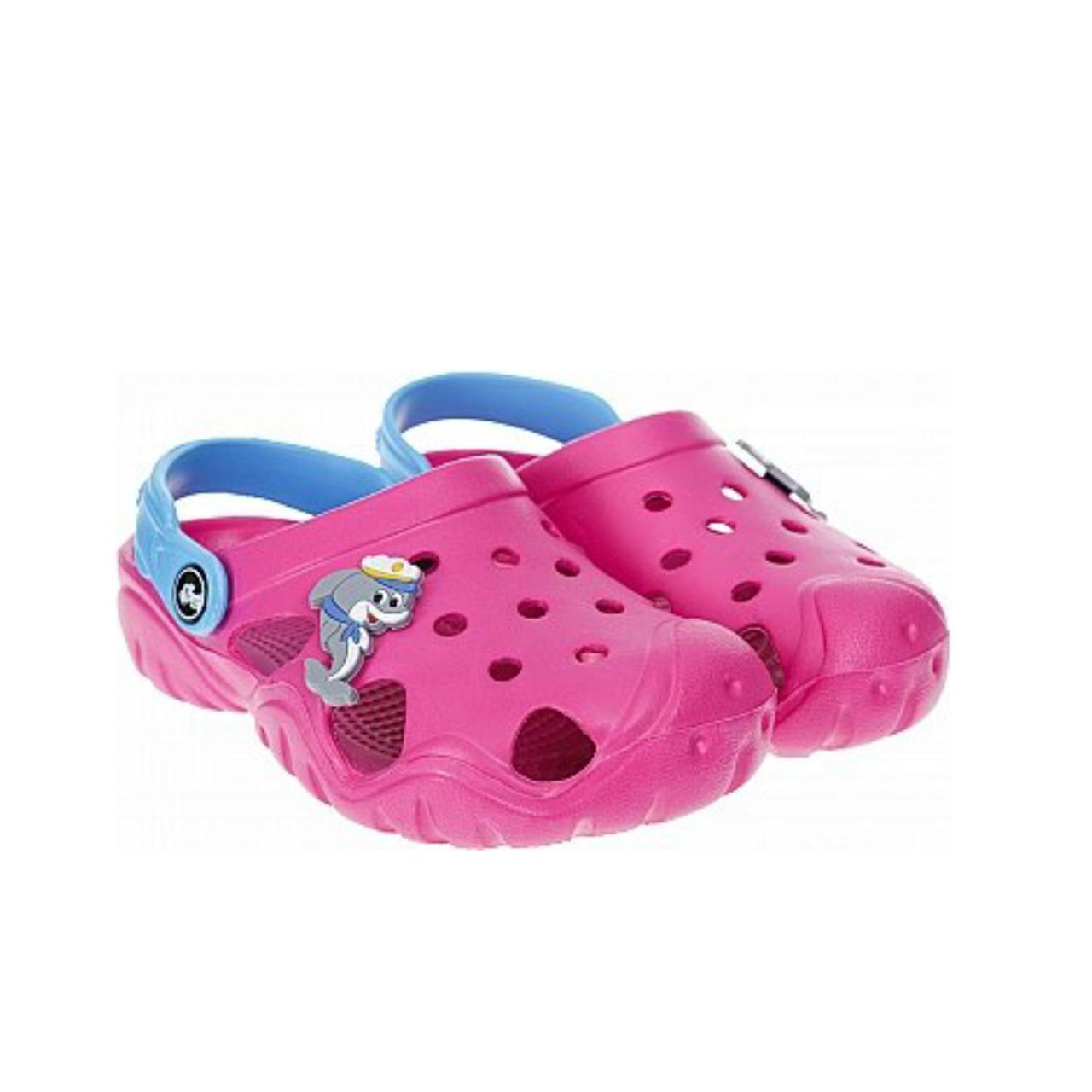 Дитячі крокси сабо з піни, рожеві з блакитним легкі шльопки на пляж, море, дачу