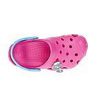 Дитячі крокси сабо з піни, рожеві з блакитним легкі шльопки на пляж, море, дачу, фото 6