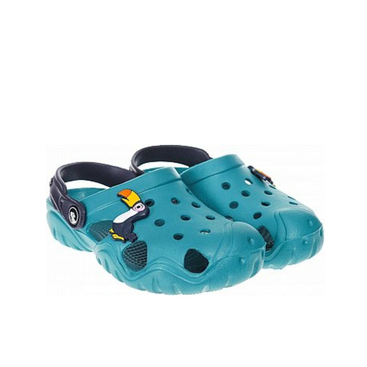 Дитячі крокси сабо з піни, блакитні з темно-синім сабо хлопчикам і дівчаткам на пляж, у двір