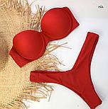 Красный женский купальник с плотной чашкой и завышенными плавками 7725434, фото 4