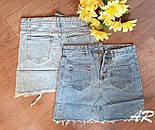 Голубая женская джинсовая юбка на пуговицах с накладными карманами 7911399, фото 3