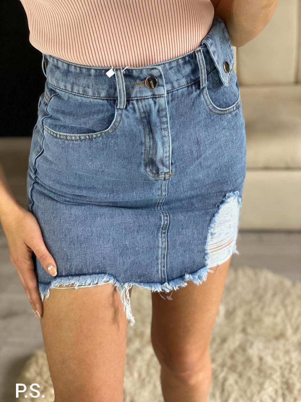 Женская голубая джинсовая юбка с декоративным порезом 7611405