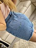 Женская голубая джинсовая юбка с декоративным порезом 7611405, фото 2