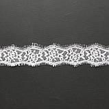 Ажурне французьке мереживо шантильї (з віями) білого кольору шириною 4 см, довжина купона 3,0 м, фото 2