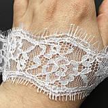 Ажурне французьке мереживо шантильї (з віями) білого кольору шириною 4 см, довжина купона 3,0 м, фото 3