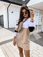 Прямое спортивное платье из двухнитки трехцветное 40PL1203, фото 1