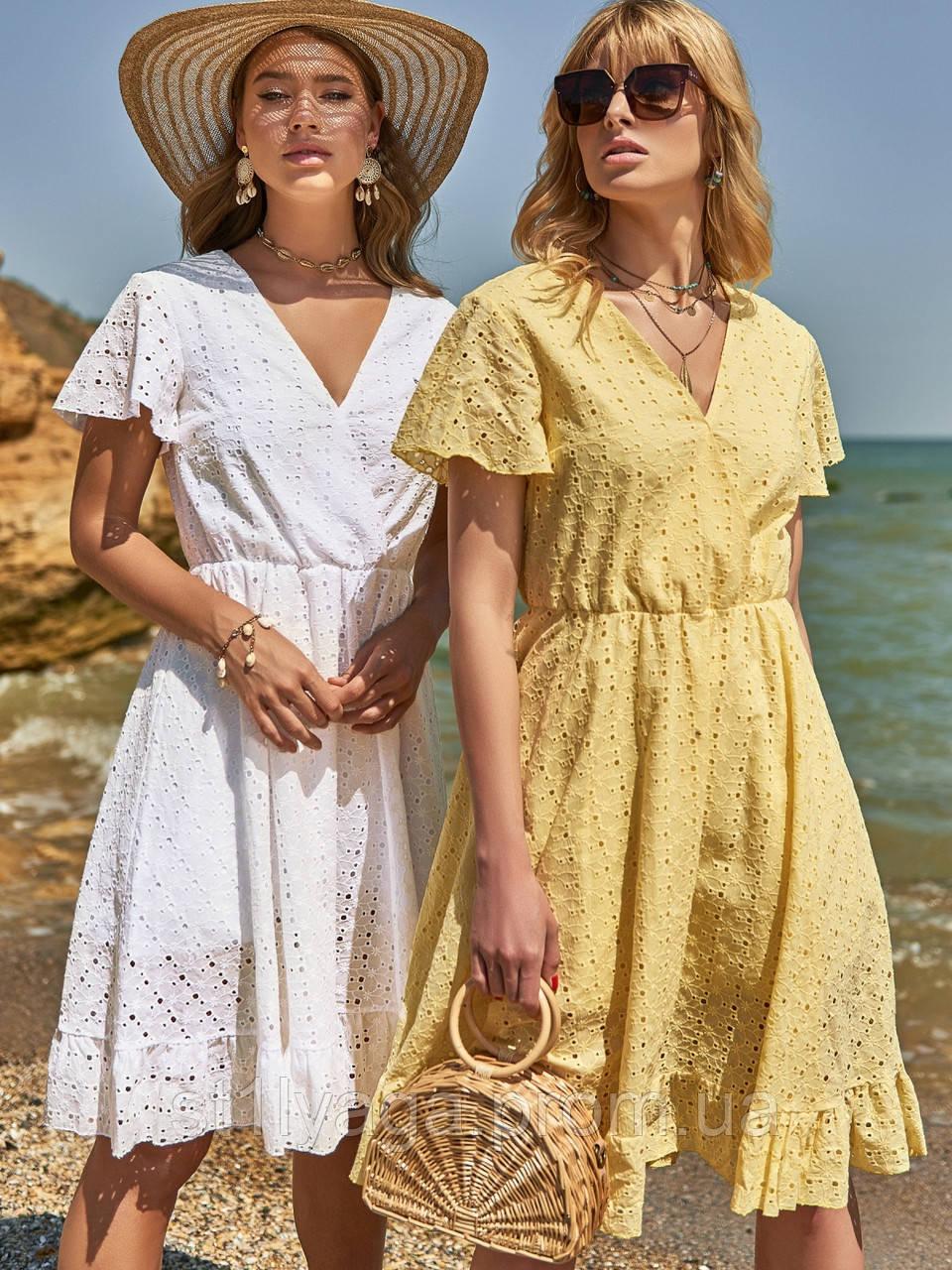 Літнє плаття з прошвы з гумкою по талії