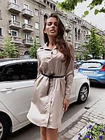 Шелковое платье - рубашка на пуговицах с длинным рукавом 60PL1212, фото 1