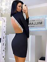 Облегающее платье с открытой спинкой и отделкой из бахрамы 20PL1216, фото 1