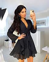 Летнее платье на запах из прошвы с расклешенной юбкой и длинным рукавом 20PL1217, фото 1