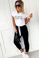 Женский костюм брючный из двухнитки с белой футболкой на завязке и черными штанами на манжетах 41KO748, фото 1