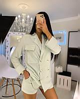 Женский летний костюм из льна с шортами и удлиненным прямым пиджаком 20KO768, фото 1