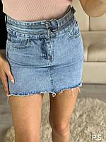 Женская голубая джинсовая юбка с поясом и необработанными краями 76JU402, фото 1