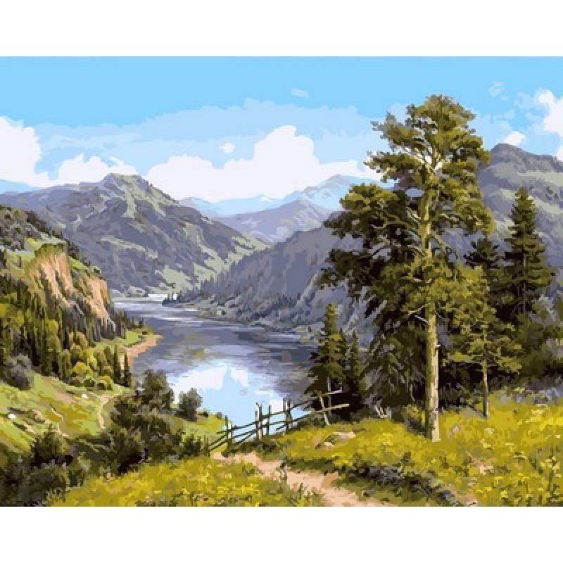 Картина по номерам NB958 Горная река, 40x50 см., Babylon Premium