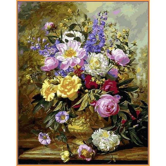Картина по номерам Букет белых и желтых роз, 40x50 см., Babylon Premium