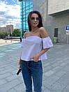 Женская белая хлопковая блуза летняя с открытыми плечами 65ma297, фото 2
