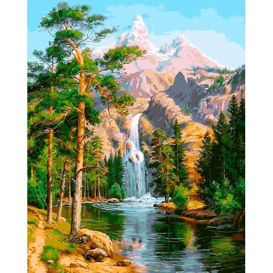 Картина по номерам Водопад в лесу, 40x50 см., Babylon Premium