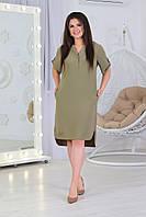Сукня сорочка з кишенями, арт. А359/1, тканина ролекс колір хакі / зеленого кольору