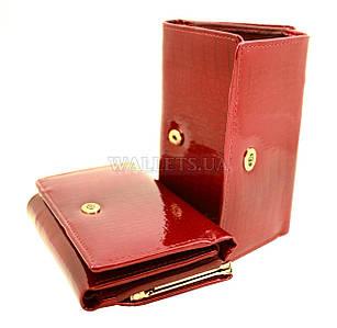Женский кожаный кошелек ST, маленький, темно-красный лак.