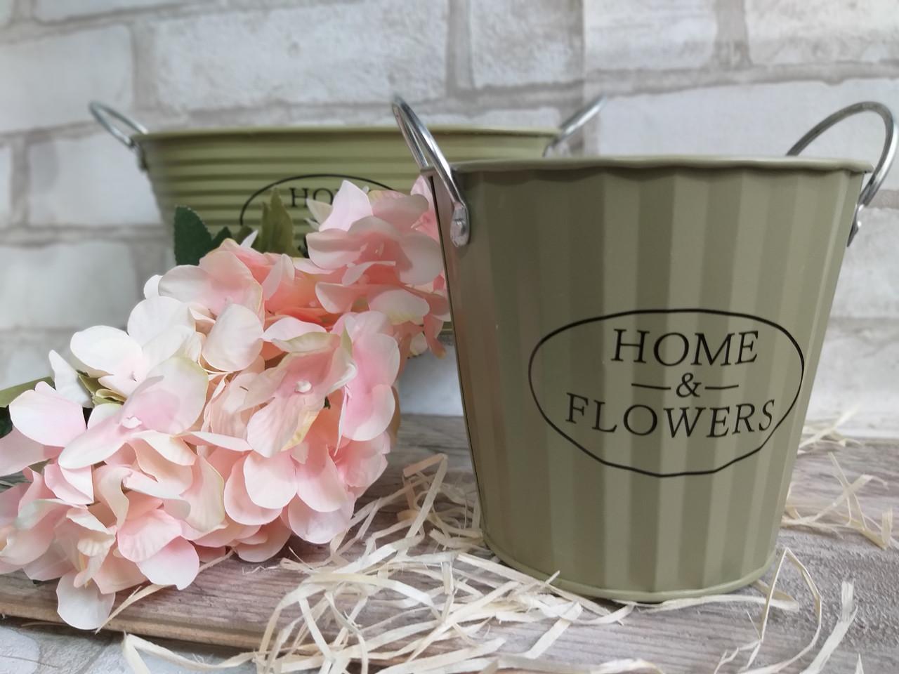 Відро кашпо з металу Home&Flowers, декор, вис. 12 см., діам. 12.5 см., 90/75 (ціна за 1 шт. + 15 гр.)