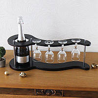 Настольный мини бар для вина на 4 рюмки-Волна