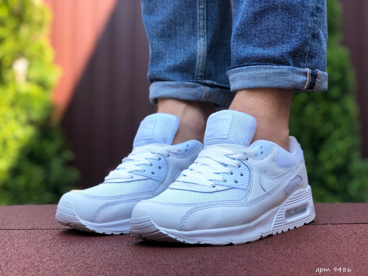 Мужские кроссовки Nike Air Max 90 (белые) 9486