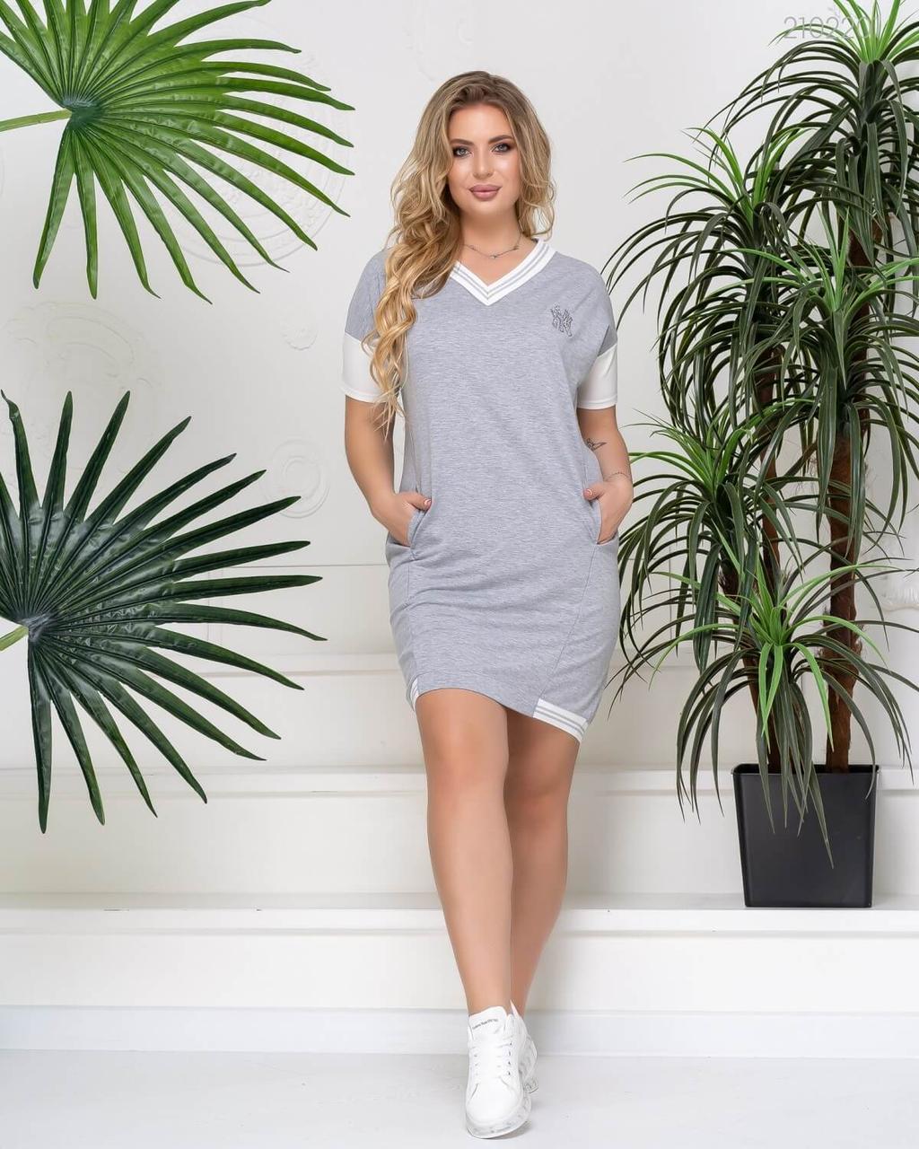 Женское летнее спортивное платье в больших размерах с коротким рукавом и прямого кроя 51uk677