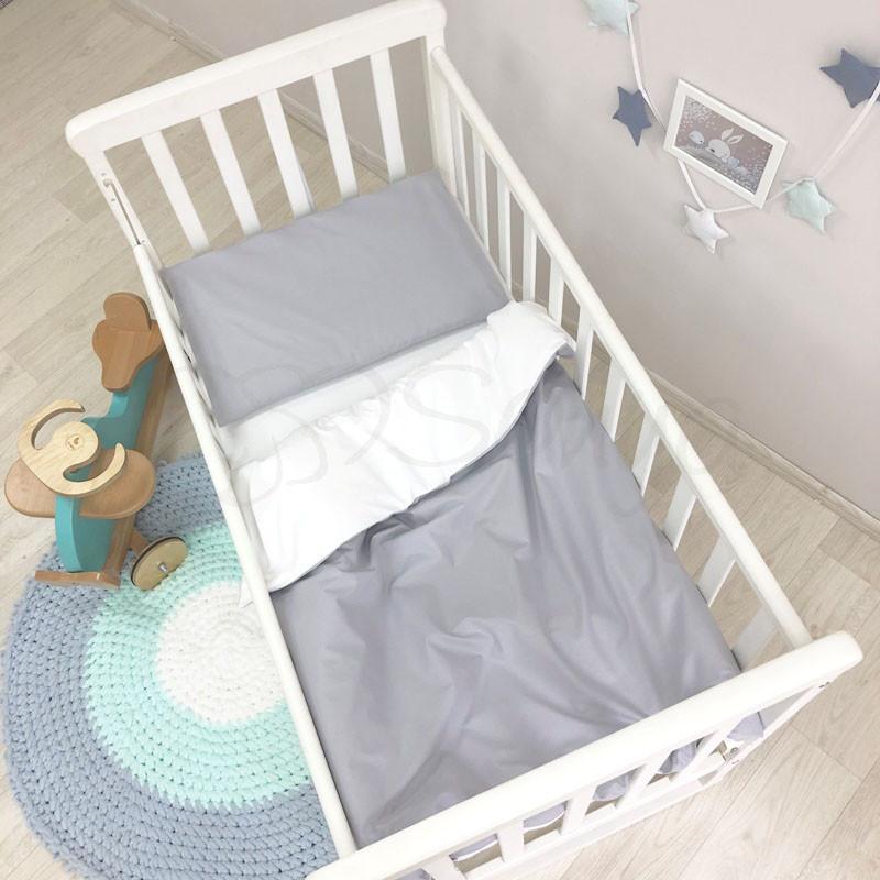 Сменный комплект белья в кроватку Универсальный серый
